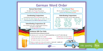 German Word Order A4 Display Poster - word Order Reference Sheet, KS3, KS4, Revision tool, Grammar,German