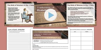 Frankenstein Lesson Pack 6: Elizabeth's Letter Chapter 6 - Frankenstein, Romantics, 19th century, English Literature, GCSE, Mary Shelley