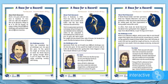 KS1 Mark Beaumont Differentiated Reading Comprehension Go Respond Activity - Mark Beaumont, cycle, cycling, bike, bicycle, challenge, adventure, goal, target, setting, World Rec