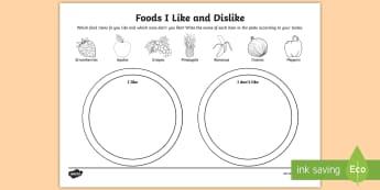 Foods I Like and Dislike Activity Sheet - food, nutrition, vegetables, fruits, tastes, Worksheet