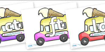 Final Letter Blends on Ice Cream Vans - Final Letters, final letter, letter blend, letter blends, consonant, consonants, digraph, trigraph, literacy, alphabet, letters, foundation stage literacy
