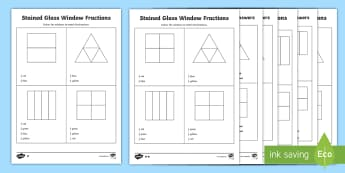 Year 2 Stained Glass Window Fractions Differentiated Activity Sheets - half, halves, quarter, quarters,
