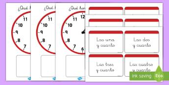 Juego: Emparejar la hora - Y cuarto - juego, emparejar, la hora, el tiempo, y cuarto, reloj, relojes, analógico, analógicos, parejas, y