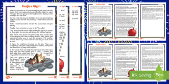 KS2 Bonfire Night Fiction Differentiated Reading Comprehension Activity - Fireworks, Safety, Guy, November, Remember