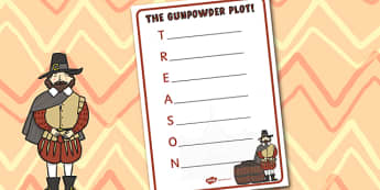 The Gunpowder Plot Acrostic Poem Template - Bonfire, Plot, Poem