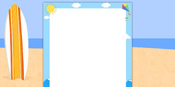 Summer Seaside Page Borders - writing templates, writing border