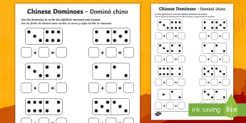 Chinese New Year Domino Addition Sheet - English/Spanish - Chinese New Year Domino Addition Sheet - addition sheet, chinese, +, =, chinese new year, EAL