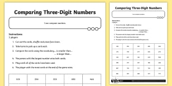Comparing Three Digit Numbers / Greater Than / Less Than ...