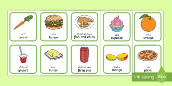 Healthy And Unhealthy Sorting Activity Arabic/English - food, sorting card, flashcards, sort, healthy, unhealthy, activity, cards, word card, flashcards, wr