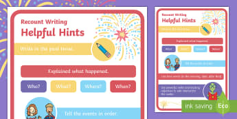 Recount Writing Helpful Hints Prompt Sheet - KS1, EYFS, Sequencing Writing, Time Words, Recount, Fireworks, Bonfire Night, Twinkl Fiction, Twinkl