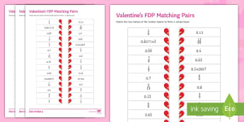 Valenitine's FDP Matching Pairs Differentiated Activity Sheets - Maths, FDP, Fractions, percentages, equivalent, terminating, recurring, worksheets