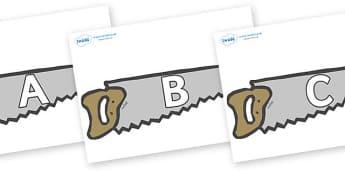 A-Z Alphabet on Saws - A-Z, A4, display, Alphabet frieze, Display letters, Letter posters, A-Z letters, Alphabet flashcards