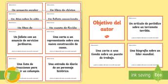 Tarjetas de trivial: El objetivo del autor - lectura, lengua, literatura, leer, pensar, evaluar, ,Spanish