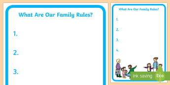 Our Family Rules Poster  - Young People & Families Case File Recording, referral, chronology, contents page,buddy system, safeg