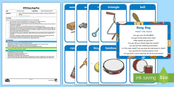 Match That Sound Busy Bag Plan and Resource Pack - instruments, percussion, aspect 2, Letters and Sounds, Phonics, listening, sound, music