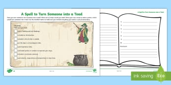 KS2 Writing a Spell to Turn Someone into a Toad Differentiated Activity Sheet - halloween, instructions, writing instructions, recipe, LKS2 and UKS2