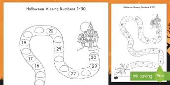 Halloween Spooky House Missing Numbers 1 to 30 Activity Sheet - Halloween, math, numeracy, missing numbers, fall