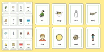 Initial s Sound Playing Cards - initial s sound, s sound, s, playing cards, game cards, card games, sound cards, letter cards, word cards, sound games