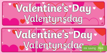 Valentine's Day Display Banner English/Afrikaans - love, February, heart, care, share, flowers, liefde, EAL