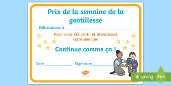 Diplôme pour cycle 1 : Prix de la semaine de la gentillesse - Altruisme, respect, les autres, bonne action, cycle 1,French