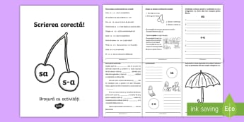 Scrierea corectă sa/s-a Broșură cu activități - gramatică, broșură, activități, sa, s-a, scriere corectă, ortograme