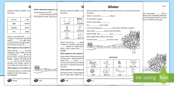 KS1 Winter Cloze Procedure Differentiated Activity Sheets - Seasons, Cold, Hibernate, Snow, Missing Words, adapt, migrate
