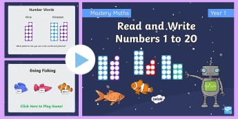 Year 1 Read and Write Numbers From 1 to 20 Maths Mastery PowerPoint - Reason, Explain, Concrete, Pictorial, Abstract, CPA, Shanghai, Singapore, fluency, reasoning, proble