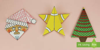 Simple 3D Christmas Origami Pack Paper Craft - origami, paper craft, christmas, wet playtime