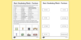 German Basic Vocabulary Match Furniture - german, basic vocabulary, furniture, match