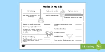 Year 3 Maths in My Life Activity Sheet - first week back, new school year activities, all about me, getting to know my class, worksheet, numb