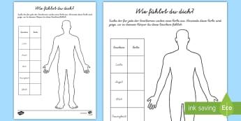 Wie fühlst du dich? Arbeistblatt zur Besinnung - Emotionen, Gefühle, fühlen, mentale Gesundheit, Besinnen,,German