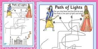 Diwali Path Maze Pencil Control Worksheet - fine motor skills, RE