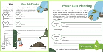 CfE Outdoor Learning Water Butt Planning Worksheet / Activity Sheet - CfE Outdoor Learning, nature, forest, woodland, playground, outdoor classroom day, empty classroom d