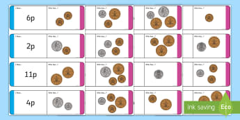 British UK Coin Value Up to 20p Loop Cards Loop Cards  - British Coin Value Loop Cards - loop cards, cards, flashcards, coins, coins loopcards, coin loop car