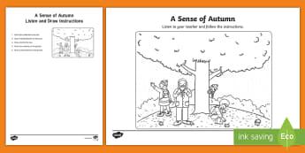 A Sense of Autumn Listen and Draw Activity - exploring my world, aistear, story, season, autumn, weather, Irish