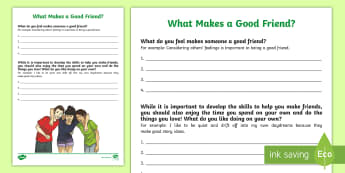 What Makes a Good Friend? Activity Sheet - self-esteem, relationships, friendships, young people, families, confidence, worksheet