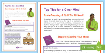 Secondary School Teacher 'Brain-Dumping' Top Tips  - KS3/4 Pastoral Support Material, brain, dumping, tips, teacher, stress, lists, clear