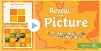 Reveal the Autumn Themed Picture with Fingerspelling Activity PowerPoint - autumn, reveal the picture, Manual alphabet, fingerspelling quiz, practice, deaf, communication, sig