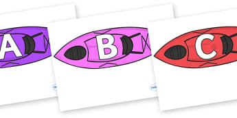 A-Z Alphabet on Kayaks - A-Z, A4, display, Alphabet frieze, Display letters, Letter posters, A-Z letters, Alphabet flashcards