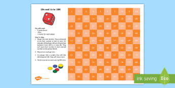 10s and 1s to 100 Maths Game - 100 chart, game, Yr 1, Yr 2, Place value, tens and Ones,Australia