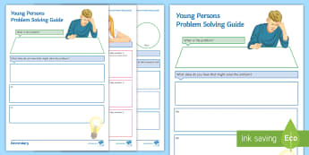 Young Person Problem Solving Activity Sheet - PSHCE, self-esteem, solution focused, friendships, behaviour