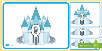 Numbers 0 to 20 on Fairy Tale Palaces Display Posters - EYFS, Early Years, Cinderella, Glass Slipper, Prince, Maths, Mathematics, Counting, Number Recogniti
