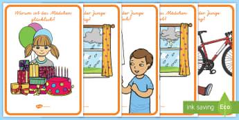 Warum-Fragen Emotionen Poster - Karten, Gefühle, Gefühl, Emotion, Fragekarten, German