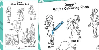 Words Colouring Sheet to Support Teaching on Dogger - worksheets, worksheet, colour