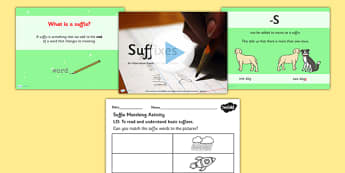 Year 1 Adding Suffixes Teaching Pack - single, plural, suffix, year one, literacy