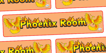Phoenix Room Display Banner - Phoenix Room, phoenix, room banner, display, areas signs, areas, display banner, display