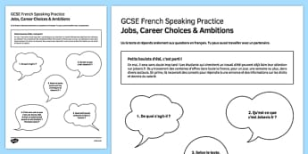 Petits boulots d'été Speaking Practice Activity Sheet - French, worksheet