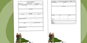 Anglo Saxon Themed Editable Individual Lesson Plan Template