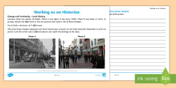 Change and Continuity Grafton Street, Dublin Activity Sheet - ROI, The World Around Us,WAU,Irish, Worksheet