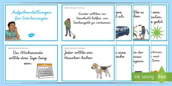 Erörterung Aufgabenstellungen Wort- und Bildkarten  - Anreize, Argumentation, Argumentieren, Argumente, Pro, Kontra, für, gegen, Vorteile, Nachteile, ,Au